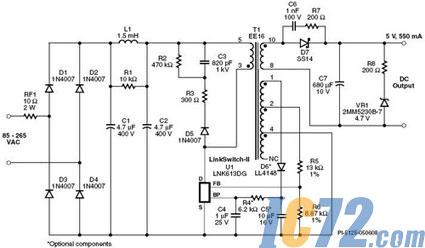 1. 2.75 w恒压/恒流通用输入充电器电源的电路图
